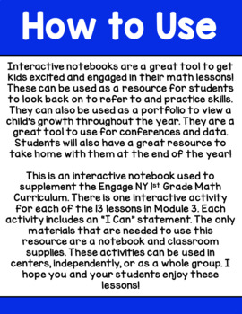 Engage NY 1st Grade Math Module 3 Interactive Notebook
