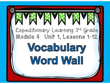 Engage NY 3rd Grade EL M4U1 Vocabulary Word Wall