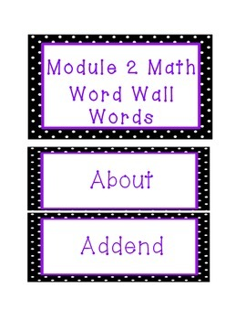 Engage NY 3rd Grade Math Module 2 Word Wall Words, Definitions, and RDWW Chart