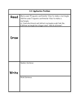 Engage NY 3rd Grade Unit 4 Application Problems in RDW Format