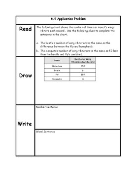 Engage NY 3rd Grade Unit 6 Application Problems in RDW Format