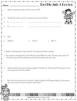 Engage NY 4th Grade Module 3 Review Pack - Multiplication & Division