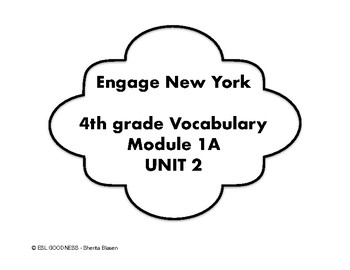 Engage NY 4th Grade Vocabulary Cards Mod 1A Unit 2 in English and Spanishi