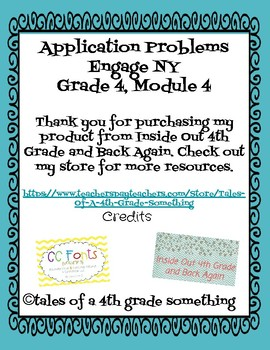 Engage NY, 4th grade, Module 4 Application problems: worksheets & answer keys