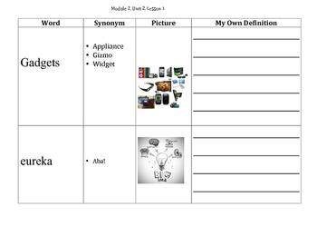 Engage NY 5th Grade Module 2a, Unit 2 Vocabulary