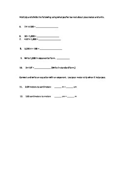 Engage NY 5th grade math module 1 Topic A quiz