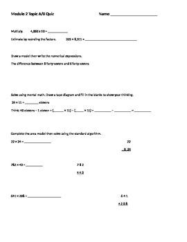 Engage NY 5th grade module 2 Topic a/b quiz