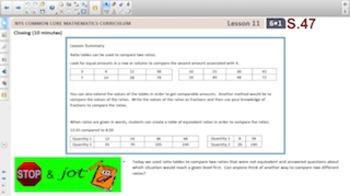Engage NY Eureka Math 6th Grade Math Module 1: Ratios and Rates for Smartboards