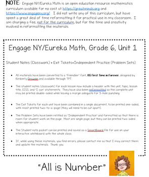 Engage NY 6th Grade Notes/Exit Tickets/Problem Sets Friendly Re-Format Sample