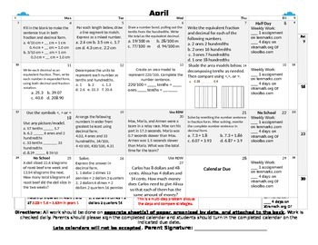 Eureka Math/Engage NY April Homework Calendar (Grade 4 Module 6)