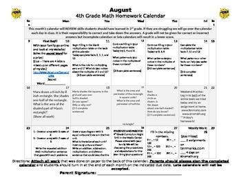 Eureka Math/Engage NY August Homework Calendar (Grade 4 Review of 3rd and Mod 1)