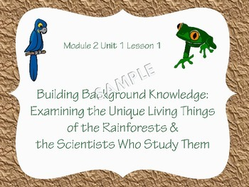 Engage NY Common Core Grade 5 ELA Module 2 Unit 1 All Lessons 1-10 RAINFORESTS