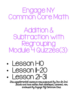 Engage NY Common Core Math Module 4 Quizzes