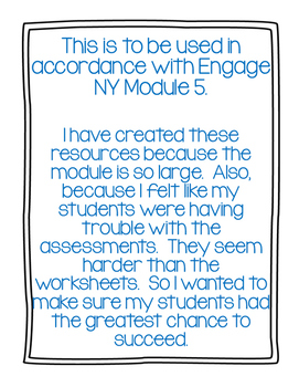 Engage NY Common Core Math Module 5 Quizzes,Tests, and Scoots