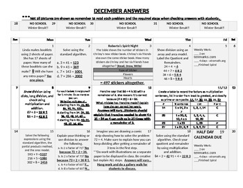 Eureka Math/Engage NY December Homework Calendar (Grade 4 Module 3)