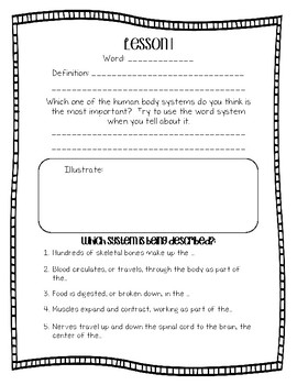 Engage NY Domain 10 : Human Body Word Work - Second Grade