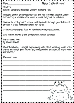 Engage NY ELA Grade 3, Module 2a, Adaptations/ Wide World of Frogs