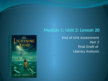 Engage NY ELA Grade 6 Module 1 Unit 2 Lesson 20--The Lightning Thief