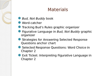 Engage NY ELA Grade 6 Module 2A Unit 1 Lesson 2--Bud, Not Buddy