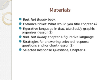 Engage NY ELA Grade 6 Module 2A Unit 1 Lesson 4--Bud, Not Buddy