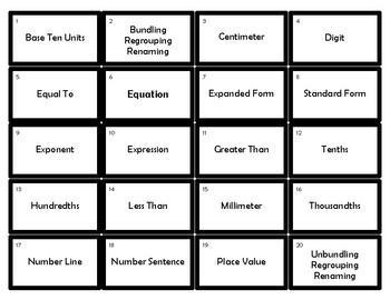 Engage NY/Eureka 5th Grade Math Module 1 Vocabulary Terms Game