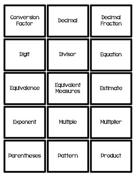 Engage NY/Eureka 5th Grade Math Module 2 Vocabulary Concentration