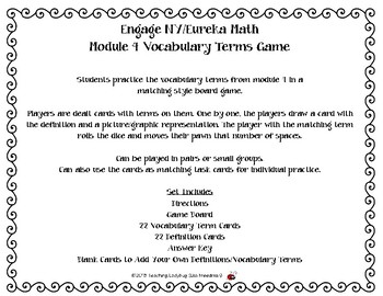 Engage NY/Eureka 5th Grade Math Module 4 Vocabulary Terms Game