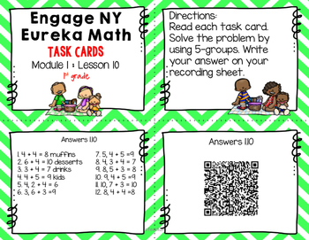 Engage NY Eureka Math (1st grade) Module 1 Lesson 10 Task Cards -Scoot Game