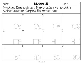 Engage NY Eureka Math (1st grade) Module 1 Lesson 13 Task Cards -Scoot Game