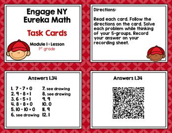 Engage NY Eureka Math (1st grade) Module 1 Lesson 34 Task Cards
