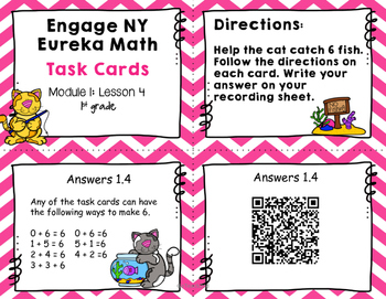 Engage NY Eureka Math (1st grade) Module 1 Lesson 4 Task Cards -Scoot Game