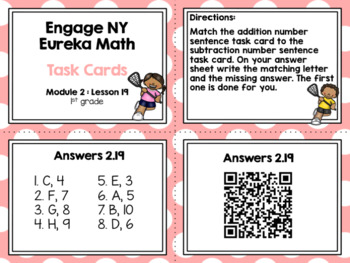 Engage NY Eureka Math (1st grade) Module 2 Lesson 19 Task Cards (Matching Game)