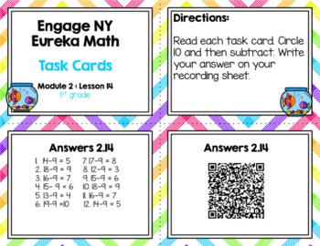 Engage NY Eureka Math (1st grade) Module 2 Lesson 14  Task Cards & Scoot Game