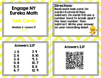 Engage NY Eureka Math (1st grade) Module 2 Lesson 17 Task Cards & Scoot Game