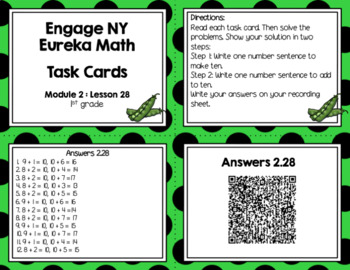 Engage NY Eureka Math (1st grade) Module 2 Lesson 28 Task Cards & Scoot Game