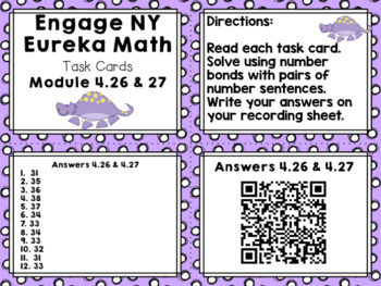 Engage NY Eureka Math (1st grade) Module 4 Lesson 26 & 27 Task Cards/Scoot Game