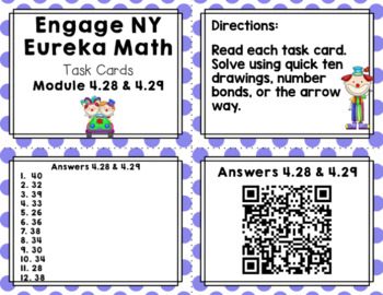 Engage NY Eureka Math (1st grade) Module 4 Lesson 28 & 2 Task Cards/Scoot Game