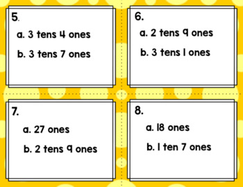 Engage NY Eureka Math (1st grade) Module 4 Lesson 7 Task Cards & Scoot Game