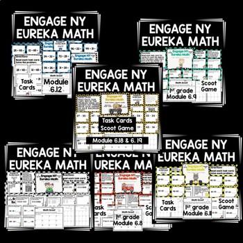 Engage NY Eureka Math-1st grade Module 6 BUNDLE (22 lessons) TaskCards/ScootGame