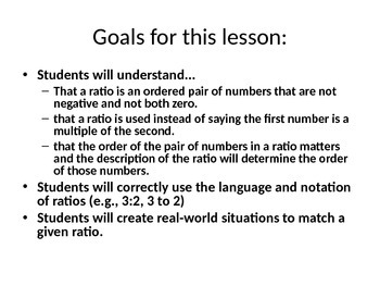 Engage NY Eureka Math 6th Grade Math Module 1 Lesson 1 on PowerPoint