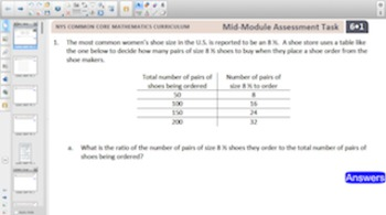 Engage NY Eureka Math 6th Grade Module Tasks for Smartboards