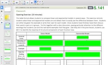 Engage NY Eureka Math Algebra 1 Module 3 Topic D for Smartboards
