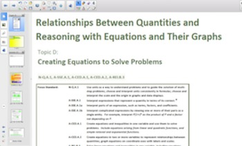 Engage NY Eureka Math Algebra 1 Module 3 Topic D for Smartboards