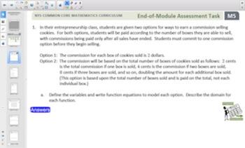Engage NY Eureka Math Algebra 1 Module 5 Topic B for Smartboards