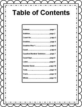 Engage NY/Eureka Math Grade 1, Module 1 Vocabulary Journal