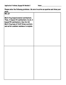 Engage NY Eureka Math Grade 2 Module 2 Application Problems (PAPER SAVER!!)
