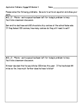 Engage NY Eureka Math Grade 2 Module 3 Application Problems (PAPER SAVER!!)