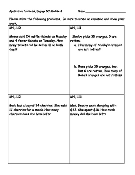 Engage NY Eureka Math Grade 2 Module 4 Application Problems (PAPER SAVER!!)