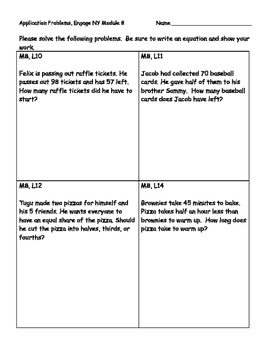 Engage NY Eureka Math Grade 2 Module 8 Application Problems (PAPER SAVER!!)