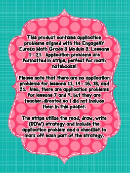 Engage NY Eureka Math Grade 3 Module 3 Application Problem Strips
